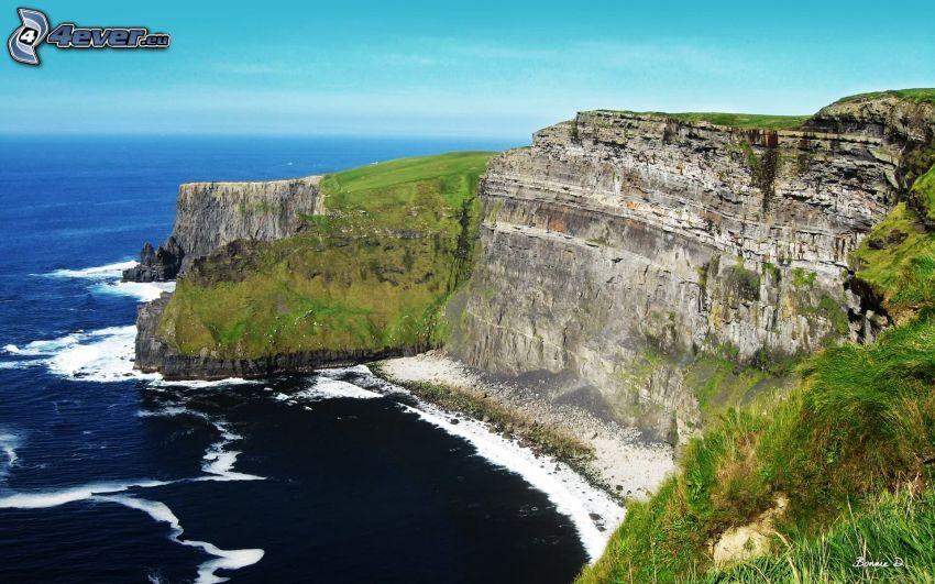 Irländska klippiga kusten, klippor vid kusten, hav