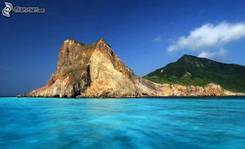 klippa, azurblå hav