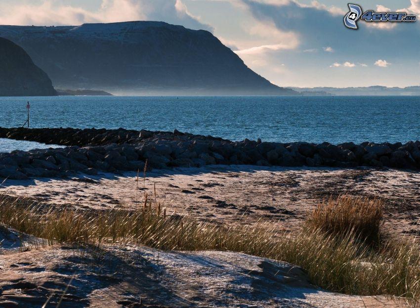 klippig kusten, hav, kulle