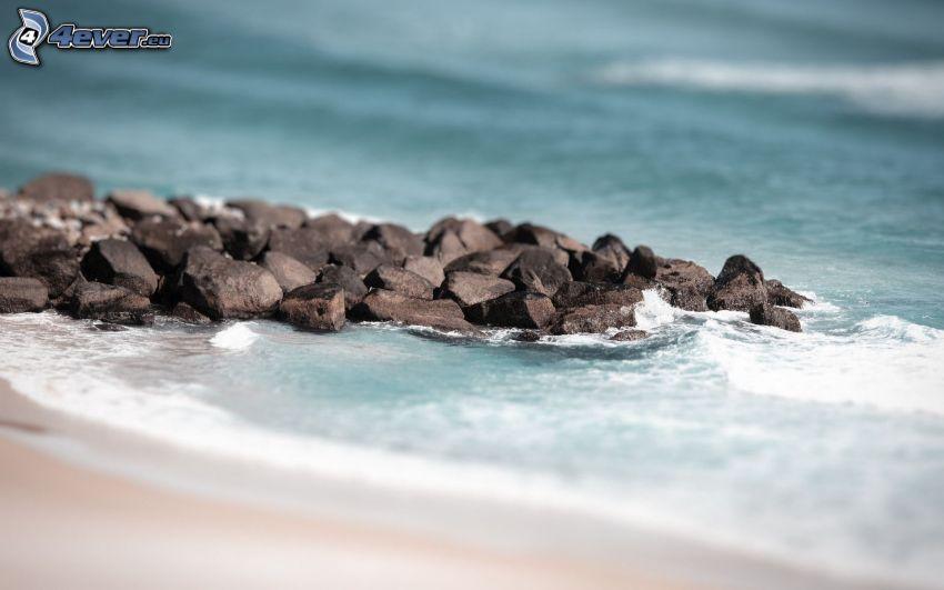 klippor i havet, strand, diorama