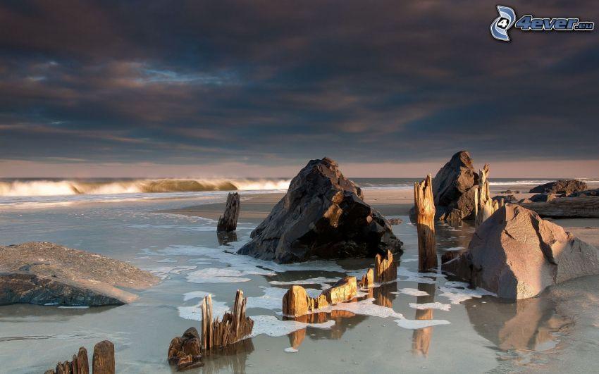 klippor i havet, trä, moln