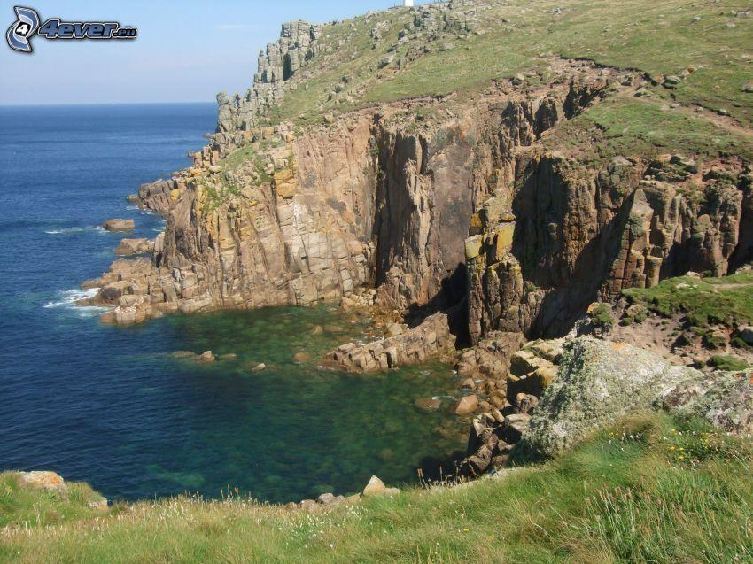 klippor vid kusten, hav