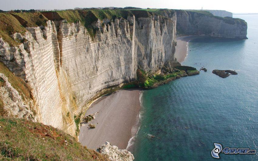 klippor vid kusten, strand, hav