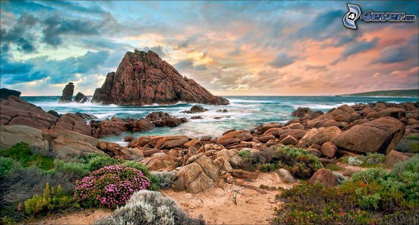 klippstrand, klippa i havet, HDR