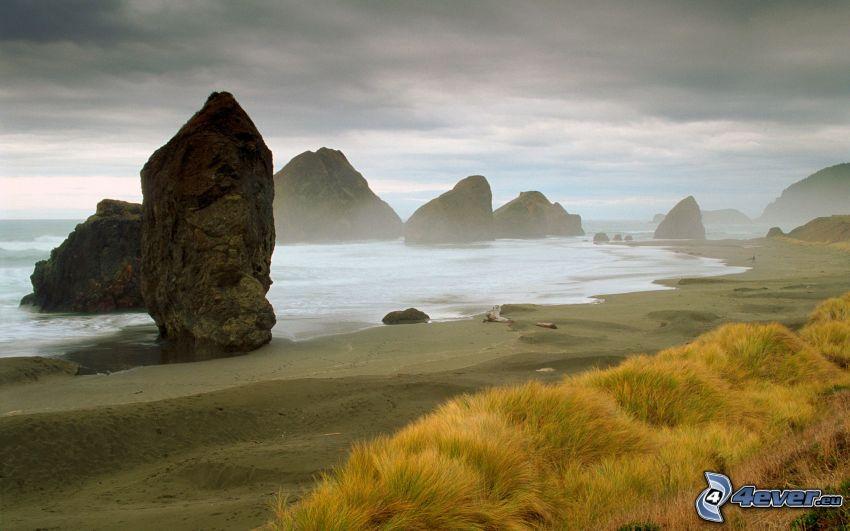 kust, klippor, hav