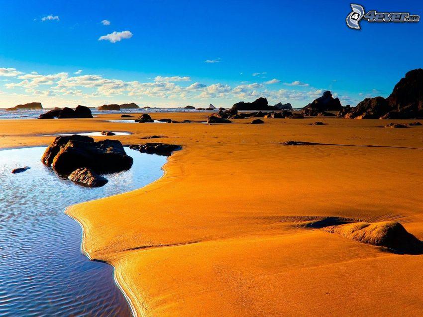 kust, sand, klippor, hav, blå himmel