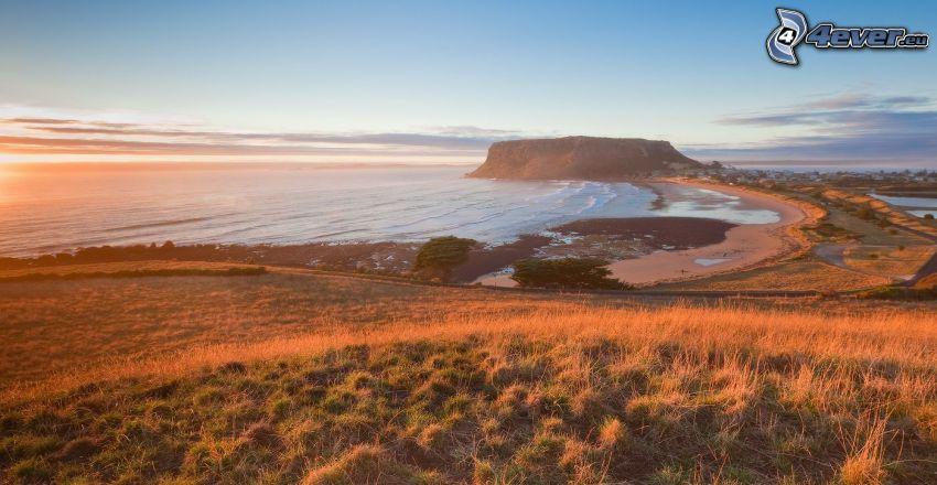 kust vid solnedgång, havsutsikt, taffelberg