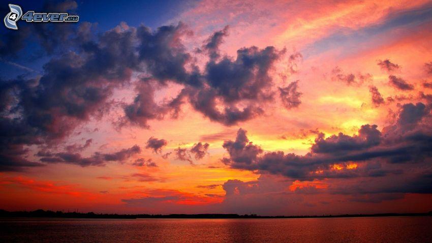 kvällshav, kvällshimmel, moln