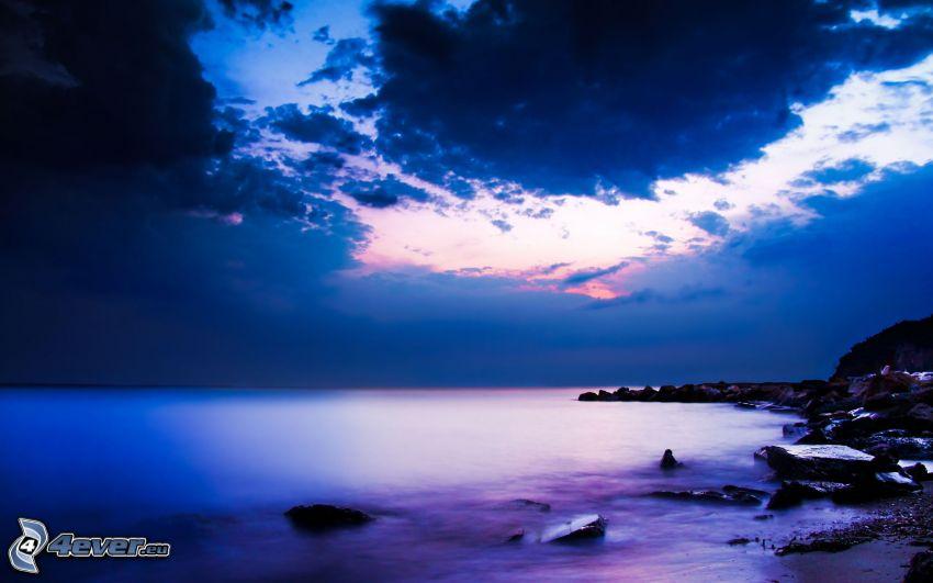 kvällshav, strand