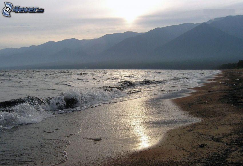 kvällsstrand, hav, kullar