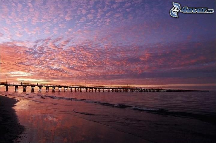 lång brygga, solnedgång, lila himmel, strand, hav