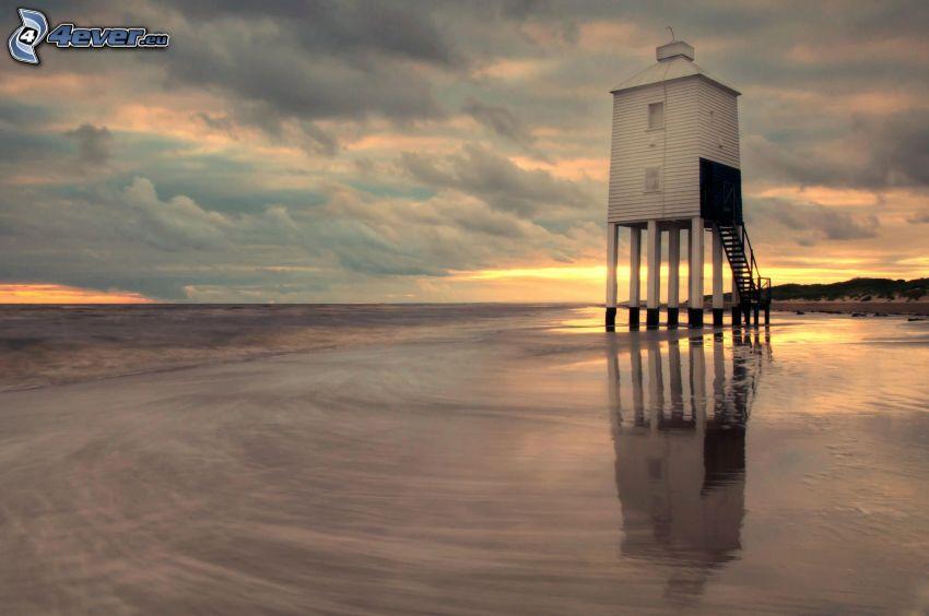 lusthus, hav, efter solnedgången