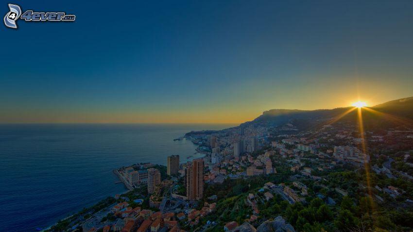 Monaco, solnedgång, hav, hus