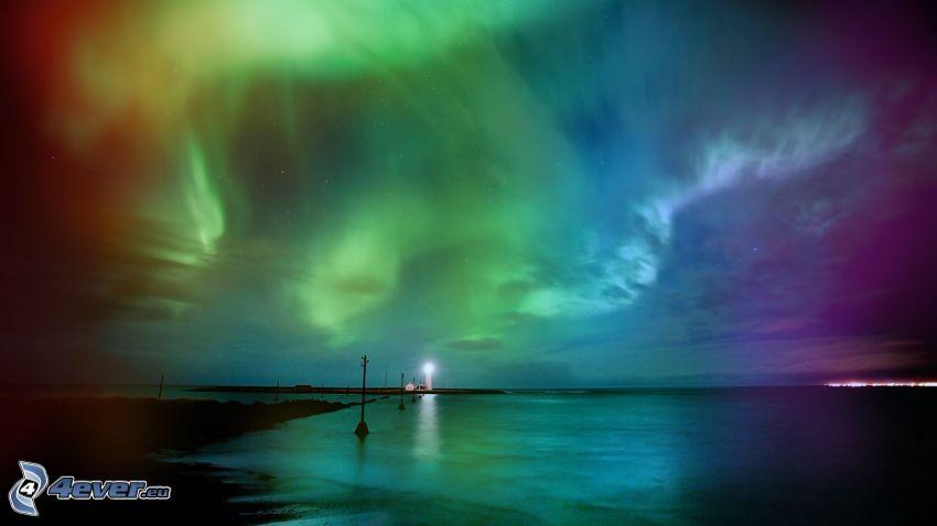 norrsken, hav