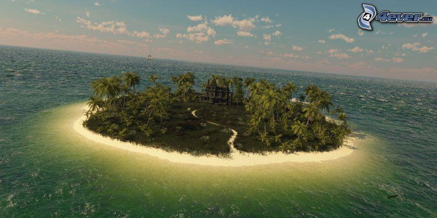 ö, hav, övergivet hus