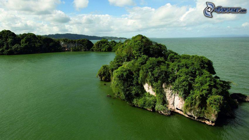 öar, grönt hav