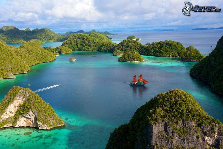 öar, hav, båt på havet