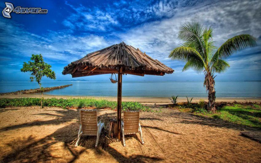 parasoll, solstolar, palmer, öppet hav, HDR