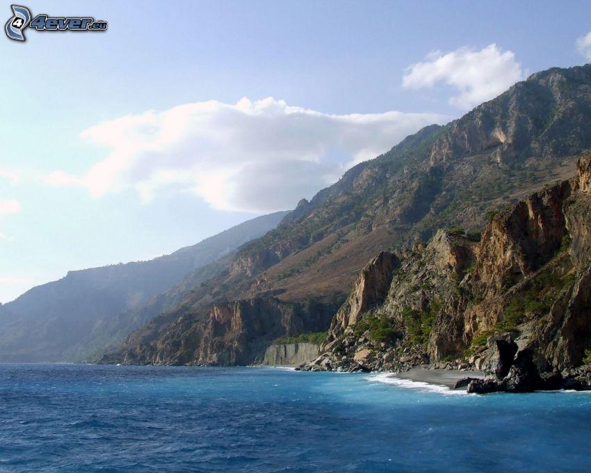 rev, stenig kust, himmel, hav