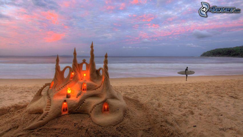 sandslott, hav