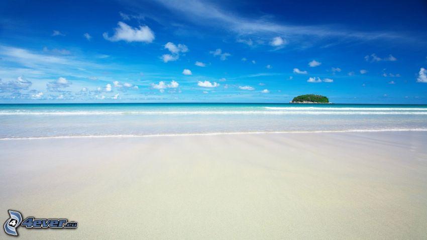 sandstrand, hav, ö