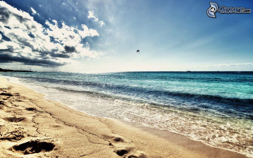 sandstrand, hav, paragliding