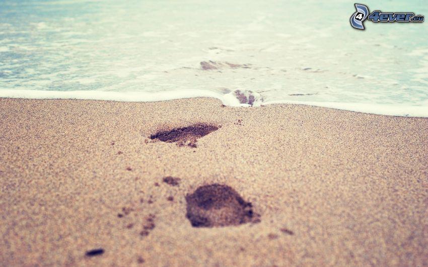sandstrand, hav, spår