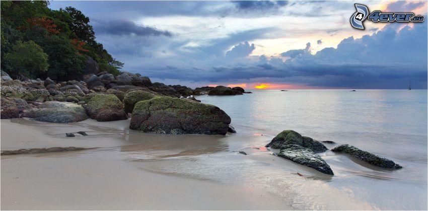 sandstrand, klippstrand, hav, efter solnedgången, moln