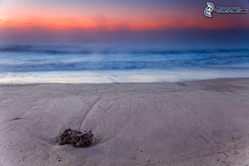 sandstrand, sten, hav, soluppgång
