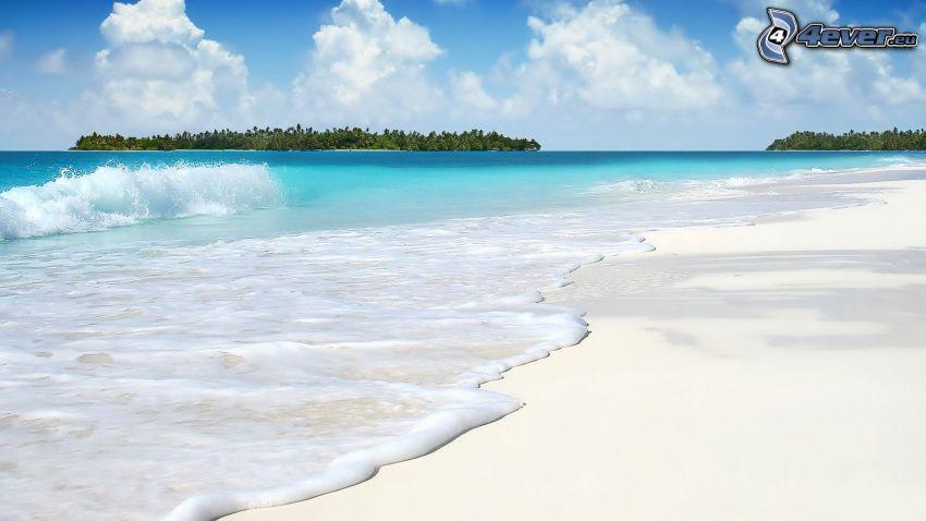 sandstrand, våg, azurblå hav