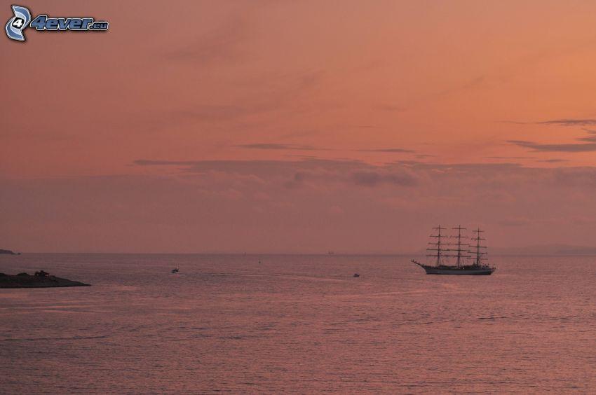segelbåt, Sørlandet, kvällshav