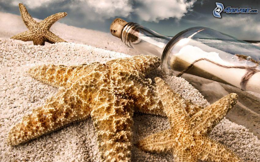 sjöstjärnor, flaskpost, sand