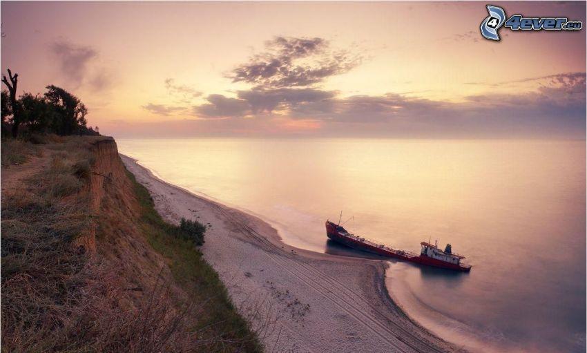 skeppsbrott, sandstrand, hav, soluppgång