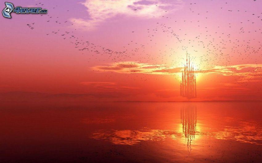 solnedgång över hav, färggrann himmel