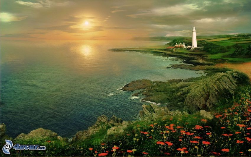 solnedgång över hav, fyr, klippstrand