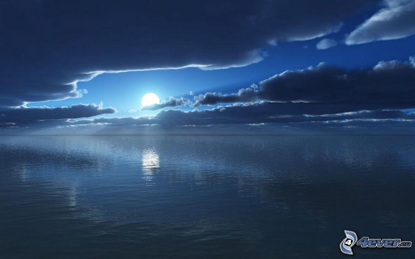 solnedgång över hav, moln
