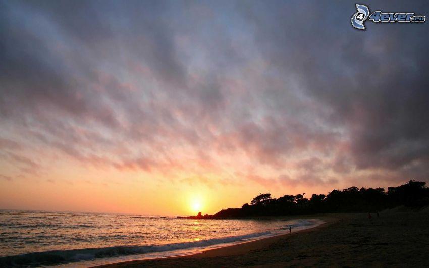 solnedgång över havet, kvällsstrand