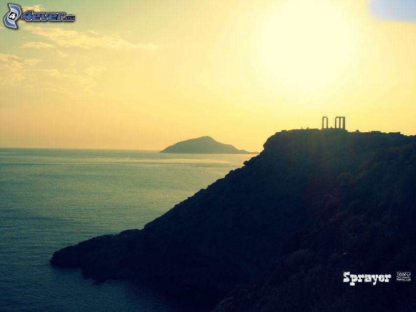 solnedgång över ö, öar, havsutsikt