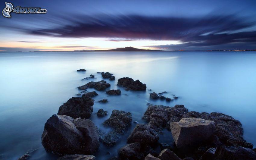 stenar, hav, ö, mörk himmel