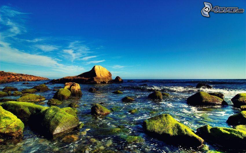 stenig kust, öppet hav