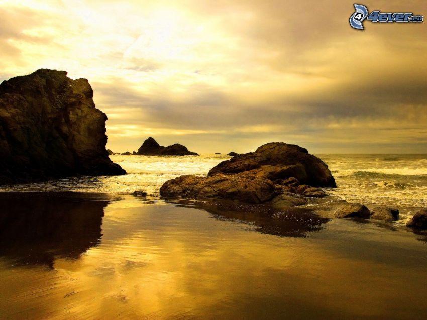 stenig kust, strand