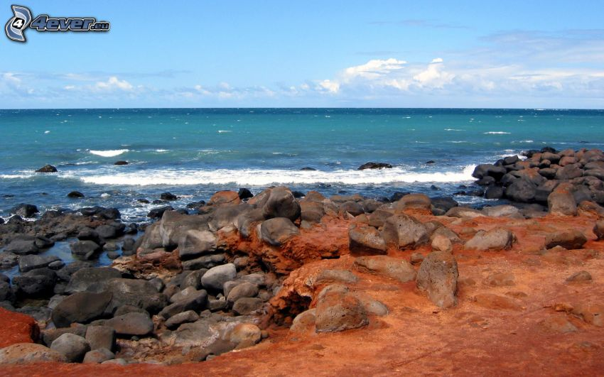 stenig strand, hav