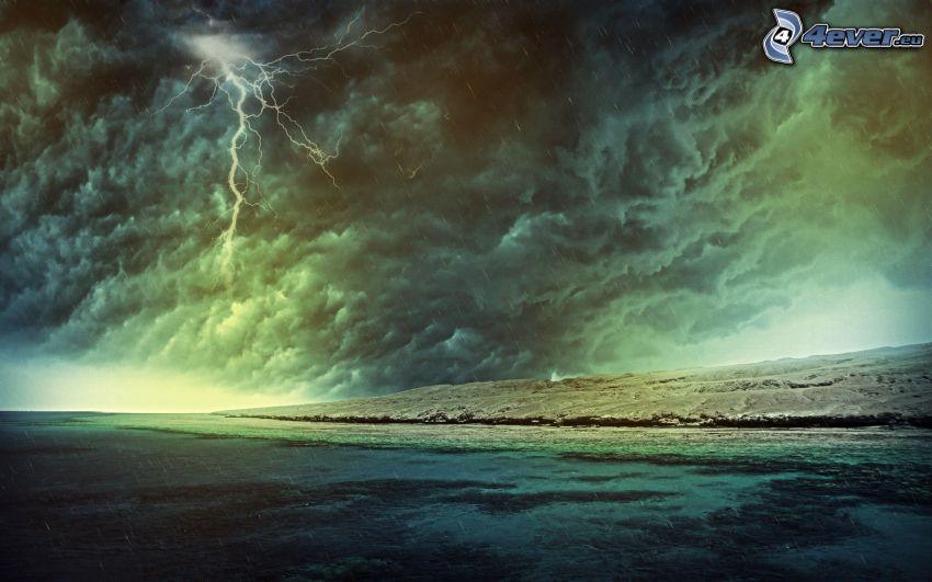 storm, blixt, hav, kust