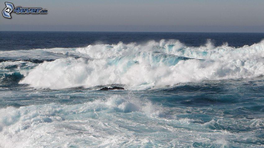 stormigt hav, vågor vid kusten