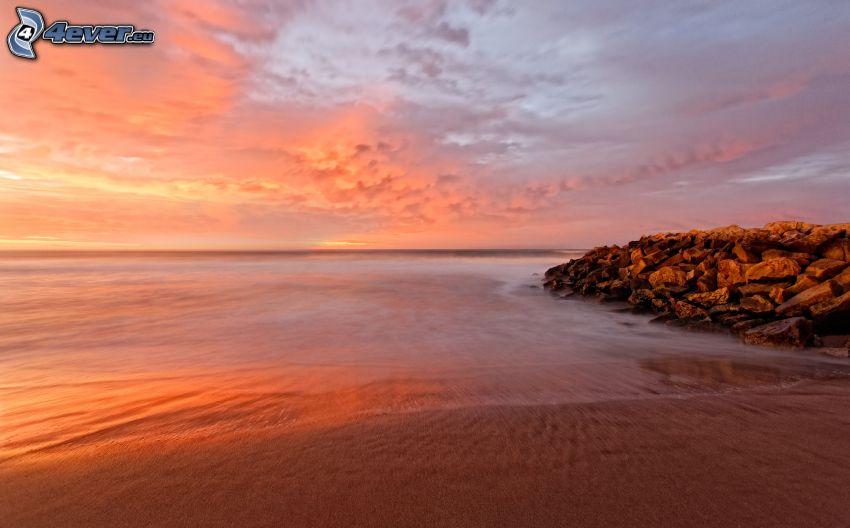 strand, hav, kvällshimmel