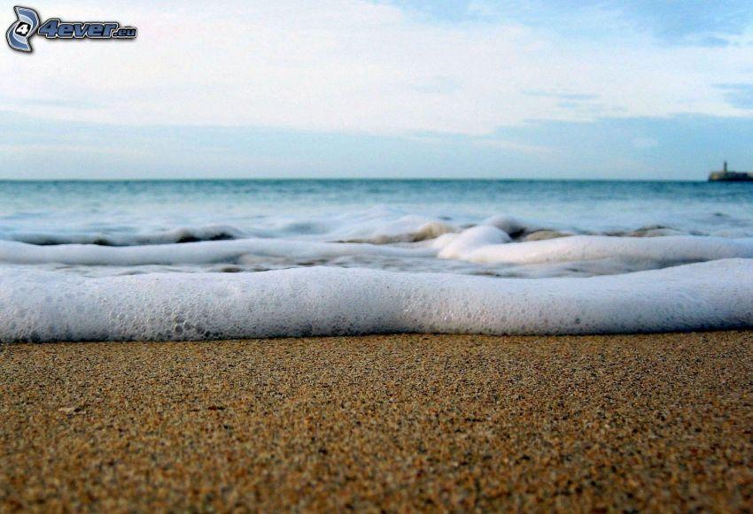 strand, hav, skum