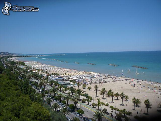 strand, Italien, hav, palmer, himmel