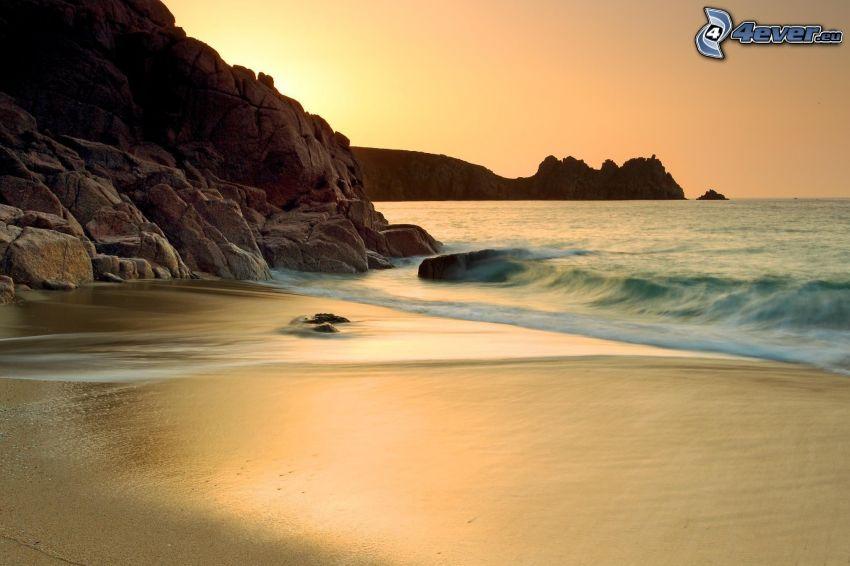 strand, klippor, hav, kvällshimmel