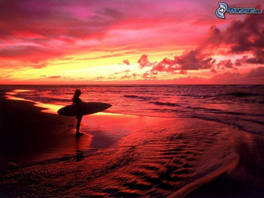 surf, kvinna, hav, röd himmel