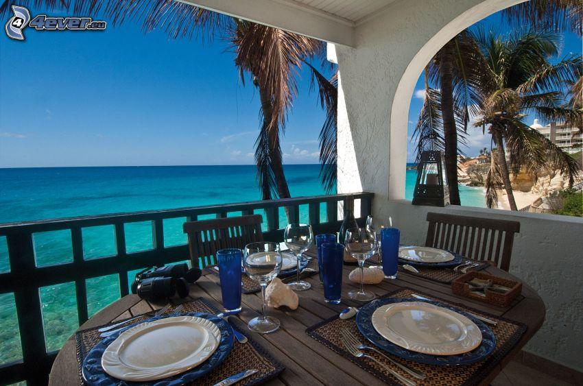 terrass, dukat bord, havsutsikt